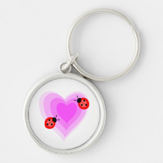 Ladybug Love Silver-Colored Round Keychain
