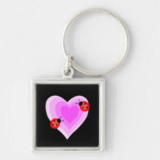 Ladybug Love Silver-Colored Square Keychain