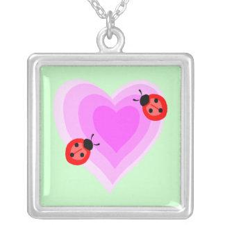 Ladybug Love Square Pendant Necklace