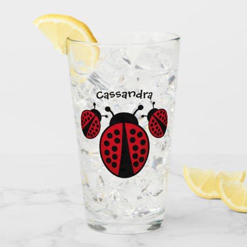 Ladybug lovers with your name glass