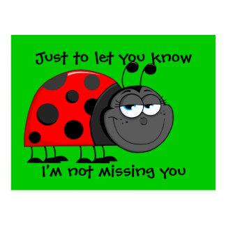 Ladybug Not Missing You Postcard