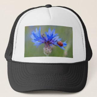 Ladybug on a blue cornflower trucker hat