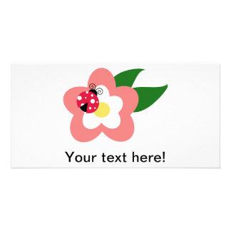Ladybug on a flower clipart customized photo card