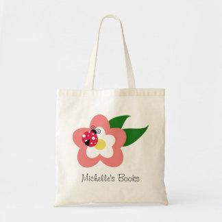 Ladybug on a Flower Custom Name School Bag