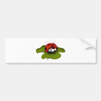 Ladybug on a green leaf bumper sticker