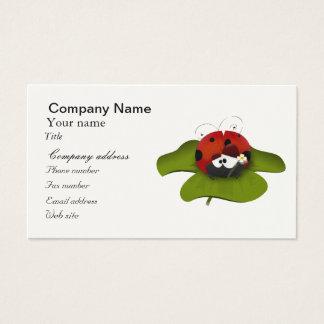 Ladybug on a green leaf business card