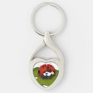 Ladybug on a green leaf keychain