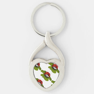 Ladybug on a green leaf Silver-Colored Heart-Shaped metal keychain