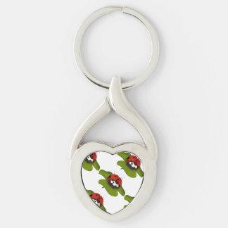 Ladybug on a green leaf Silver-Colored Heart-Shaped metal keychain