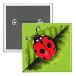 Ladybug on a Leaf 2 Inch Square Button
