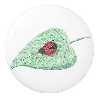 Ladybug on a leaf white ceramic knob
