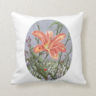 Ladybug on a Lily by Ave Hurley Throw Pillow