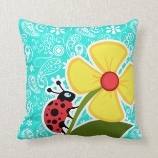 Ladybug on Aqua Color Paisley; Floral Throw Pillow