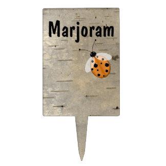 Ladybug on Birch Custom Plant Marker Cake Topper