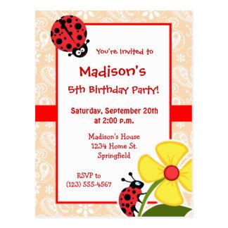 Ladybug on Bisque Color Paisley Postcard