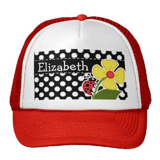 Ladybug on Black and White Polka Dots Trucker Hat
