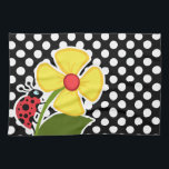 "Ladybug on Black and White Polka Dots Kitchen Towel<br><div class=""desc"">You will love this cute,  red ladybug with yellow flower on Black and White Polka Dots    pattern design!  We invite you to our store,  Birthday Party House,  to view this cool girly ladybug themed design on many more great customizable products,  including pretty invitations,  and adorable birthday cards!</div>"