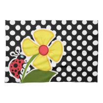 Ladybug on Black and White Polka Dots Kitchen Towel