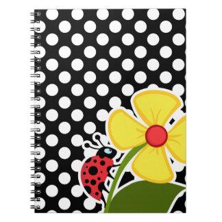 Ladybug on Black and White Polka Dots Notebook