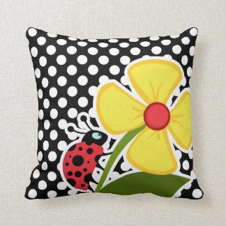 Ladybug on Black and White Polka Dots Pillow