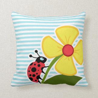 Ladybug on Blizzard Blue Stripes; Striped Pillows