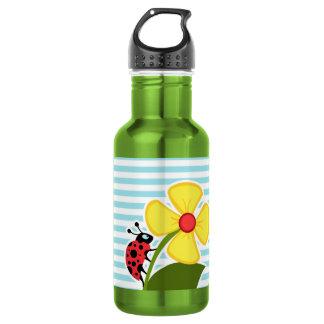 Ladybug on Blizzard Blue Stripes; Striped Stainless Steel Water Bottle