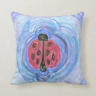 Ladybug on Blue by EelKat Pillow