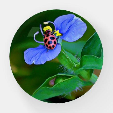 Ladybug on Blue Flower Paperweight