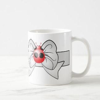 Ladybug On Bow Ribbon Personalised Coffee Mug