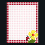 "Ladybug on Carmine Red Gingham Letterhead<br><div class=""desc"">You will love this cute,  red ladybug with yellow flower on Carmine Red Gingham; Checkered   pattern design!  We invite you to our store,  Birthday Party House,  to view this cool girly ladybug themed design on many more great customizable products,  including pretty invitations,  and adorable birthday cards!</div>"