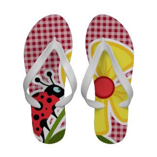 Ladybug on Carmine Red Gingham Sandals