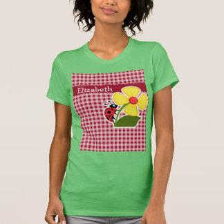 Ladybug on Carmine Red Gingham T-shirt