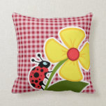 Ladybug on Carmine Red Gingham Throw Pillow
