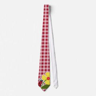 Ladybug on Carmine Red Gingham Tie