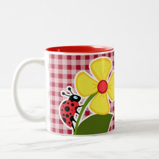 Ladybug on Carmine Red Gingham Two-Tone Coffee Mug