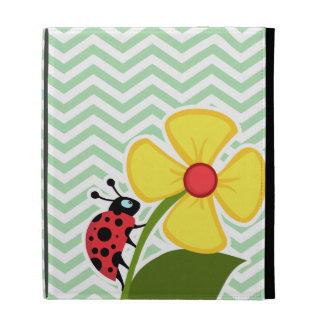 Ladybug on Celadon Chevron iPad Folio Cover