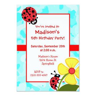 Ladybug on Celeste Camo 4.5x6.25 Paper Invitation Card