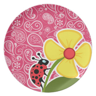 Ladybug on Cerise Paisley; Floral Party Plate