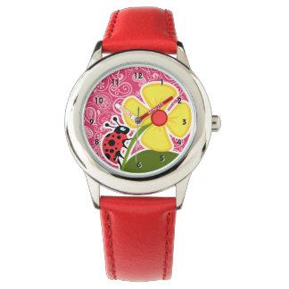 Ladybug on Cerise Paisley; Floral Wrist Watch