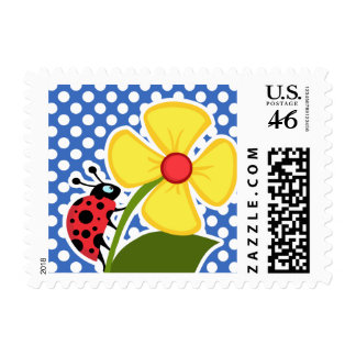 Ladybug on Cerulean Blue Polka Dots Stamp