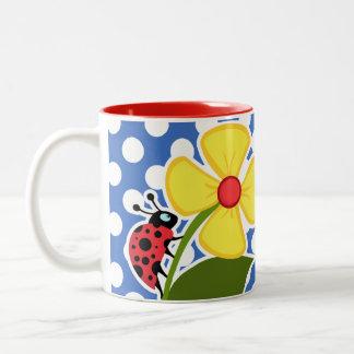 Ladybug on Cerulean Blue Polka Dots Two-Tone Coffee Mug