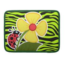 Ladybug on Chartreuse Zebra Stripes Animal Print Sleeve For MacBook Pro