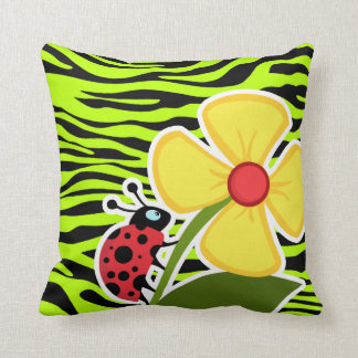 Ladybug on Chartreuse Zebra Stripes Animal Print Throw Pillow