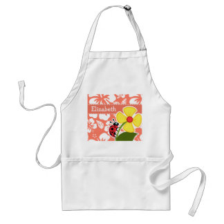 Ladybug on Coral Color Tropical Hibiscus Adult Apron