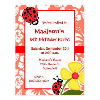 Ladybug on Coral Color Tropical Hibiscus Postcard