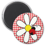 Ladybug on Daisy at a Picnic Refrigerator Magnets