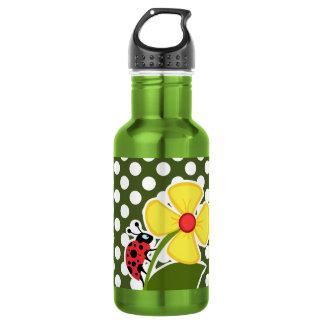 Ladybug on Dark Moss Green Polka Dots 18oz Water Bottle