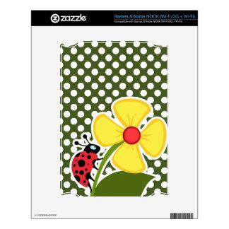 Ladybug on Dark Moss Green Polka Dots Decal For NOOK