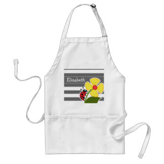 Ladybug on Dim Gray Horizontal Stripes Adult Apron
