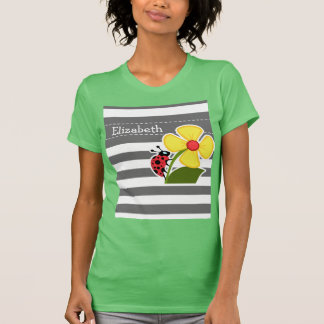 Ladybug on Dim Gray Horizontal Stripes T-Shirt